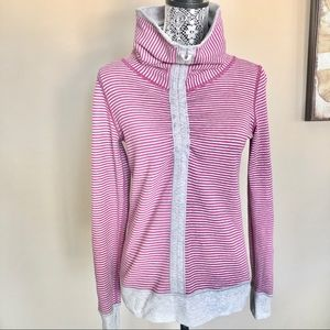 Lululemon Striped Reversible Cowl Neck Pullover